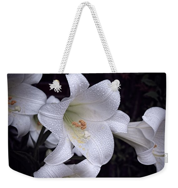 Lily With Rain Droplets Weekender Tote Bag