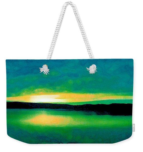 Lime Sunset Weekender Tote Bag