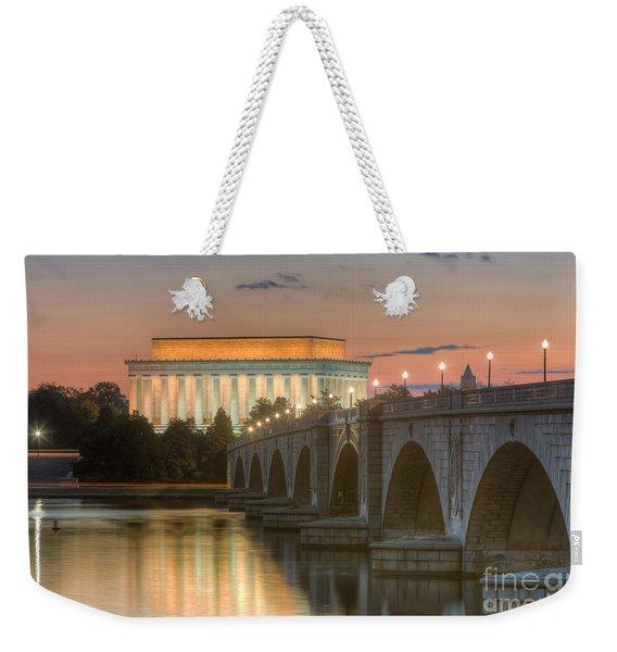 Lincoln Memorial And Arlington Memorial Bridge At Dawn I Weekender Tote Bag