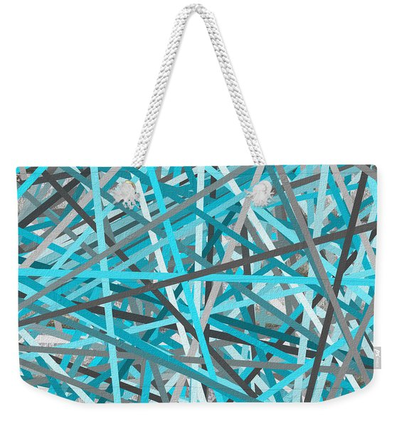 Link - Turquoise And Gray Abstract Weekender Tote Bag