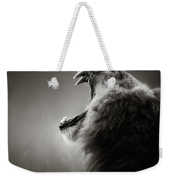 Lion Displaying Dangerous Teeth Weekender Tote Bag