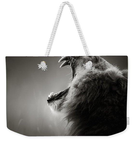 Lion Displaying Dangerous Teeth Weekender Tote Bag