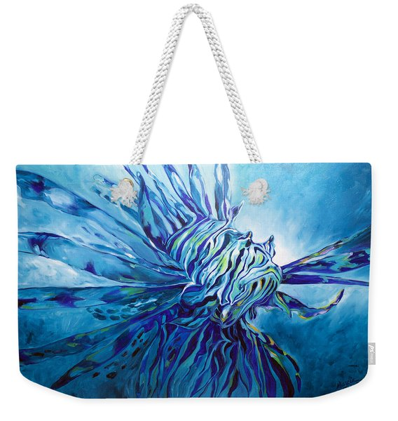 Lionfish Abstract Blue Weekender Tote Bag