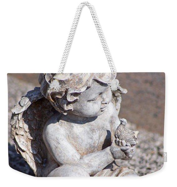Little Angel With Bird In His Hand - Sculpture Weekender Tote Bag