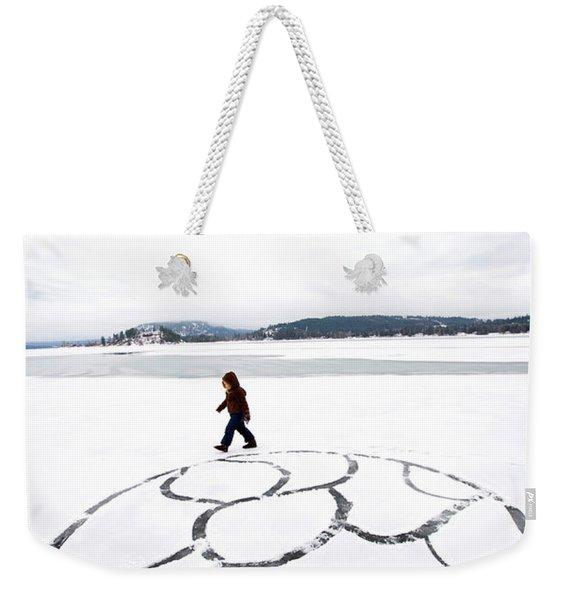 Little Girl Walking Around Large Design Weekender Tote Bag