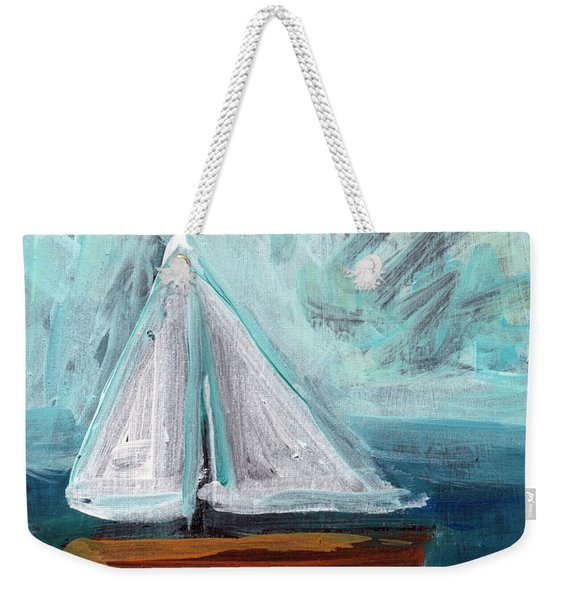 Little Sailboat- Expressionist Painting Weekender Tote Bag