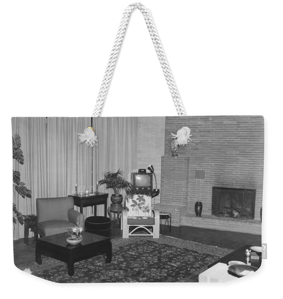 Living Room With A Tv Weekender Tote Bag