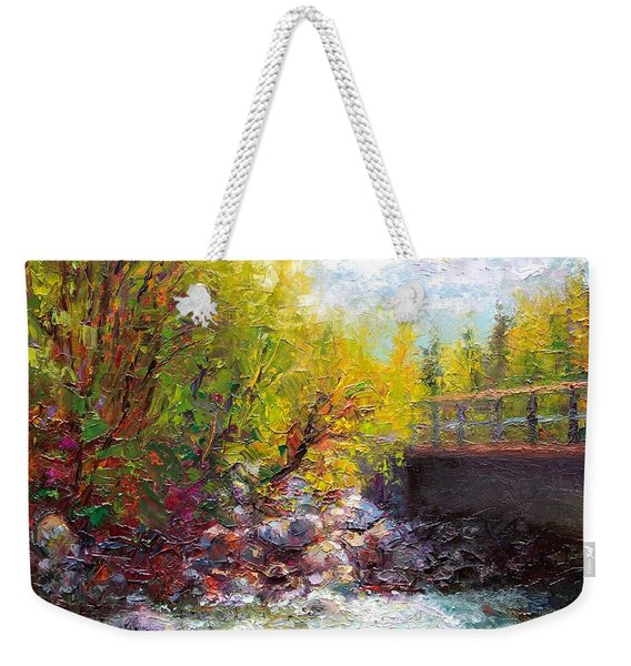 Weekender Tote Bag featuring the painting Living Water - Bridge Over Little Su River by Talya Johnson