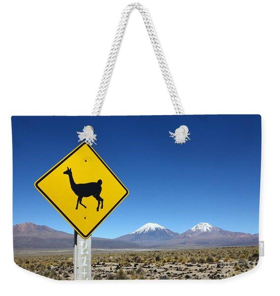 Llamas Crossing Sign Weekender Tote Bag