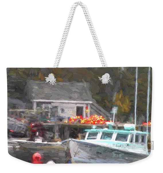 Lobster Boat New Harbor Maine Painterly Effect Weekender Tote Bag