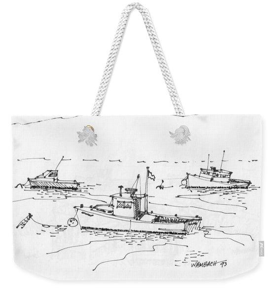 Lobster Boats Monhegan Island 1993 Weekender Tote Bag