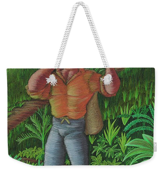 Weekender Tote Bag featuring the painting Loco De Contento by Oscar Ortiz