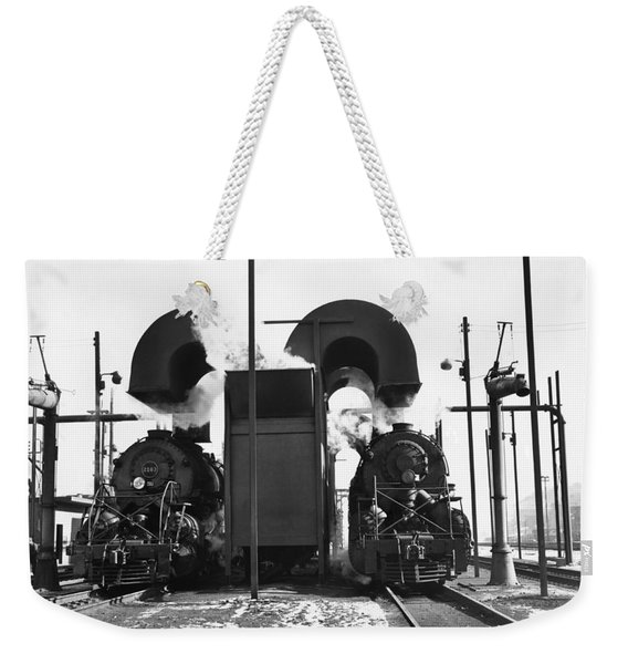 Locomotives In A Railway Yard Weekender Tote Bag
