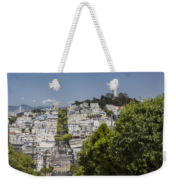 Lombard Street And Coit Tower On Telegraph Hill Weekender Tote Bag