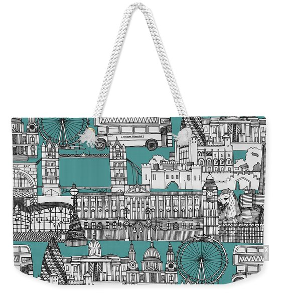 London Toile Blue Weekender Tote Bag