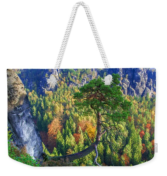 Lonely Tree In The Elbe Sandstone Mountains Weekender Tote Bag