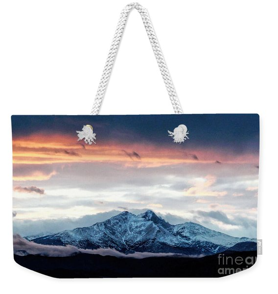 Longs Peak In Winter Weekender Tote Bag