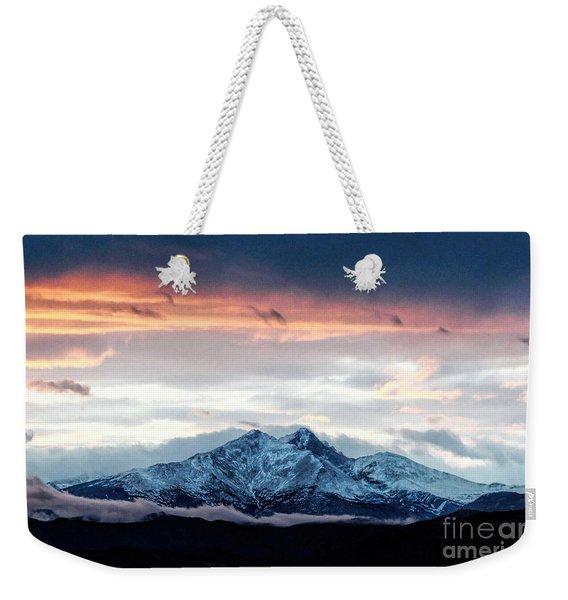 Longs Peak In Winter Weekender Tote Bag