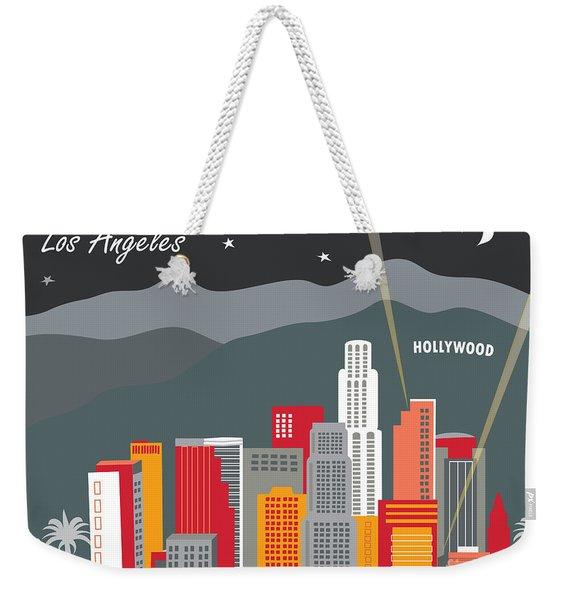 Los Angeles California Horizontal Skyline - Hollywood Hills - Night Weekender Tote Bag