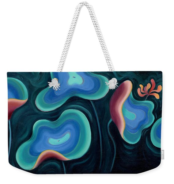 Weekender Tote Bag featuring the painting Lotus Reggae by Sandi Whetzel
