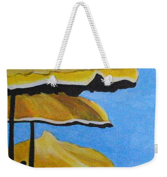 Lounging Under The Umbrellas On A Bright Sunny Day Weekender Tote Bag