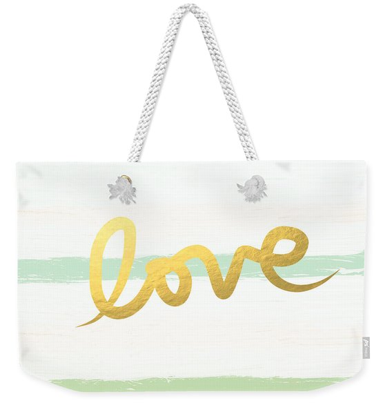 Love In Mint And Gold Weekender Tote Bag