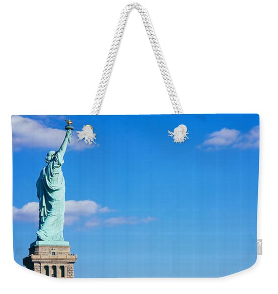 Low Angle View Of A Statue, Statue Weekender Tote Bag