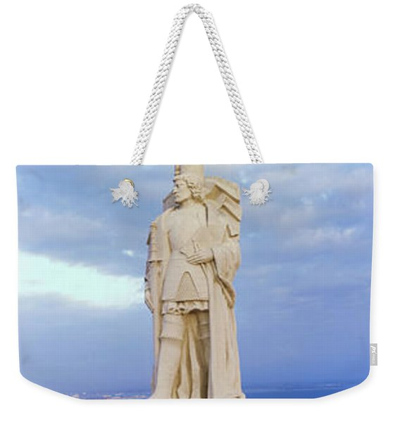 Low Angle View Of Cabrillo Statue Weekender Tote Bag