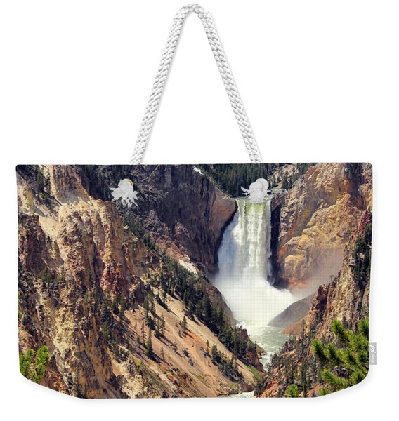 Weekender Tote Bag featuring the photograph Lower Falls Of Yellowstone by Jemmy Archer