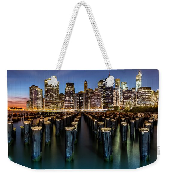 Weekender Tote Bag featuring the photograph Lower Manhattan by Mihai Andritoiu