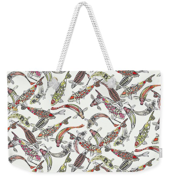 Lucky Koi Off White Weekender Tote Bag