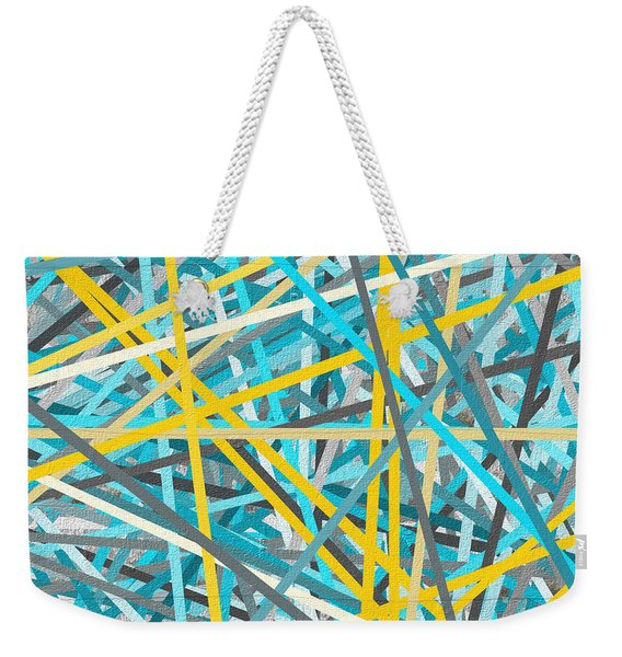 Luminous Attachment - Yellow And Turquoise Abstract Weekender Tote Bag