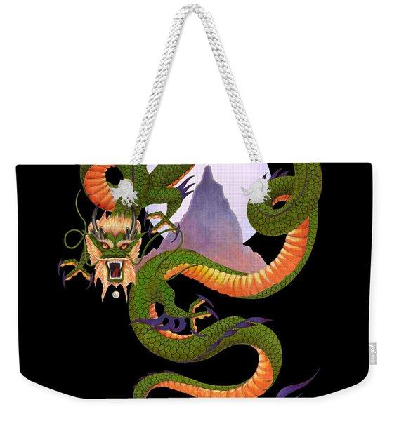 Lunar Chinese Dragon On Black Weekender Tote Bag