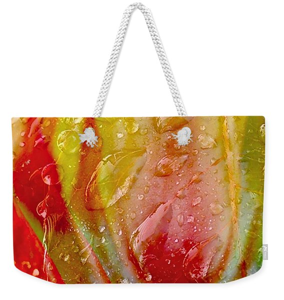 Weekender Tote Bag featuring the photograph Luscious Tulips - Waterdrops Series by Patricia Strand