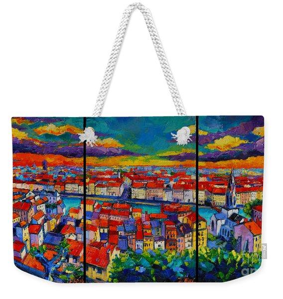 Lyon Panorama Triptych Weekender Tote Bag