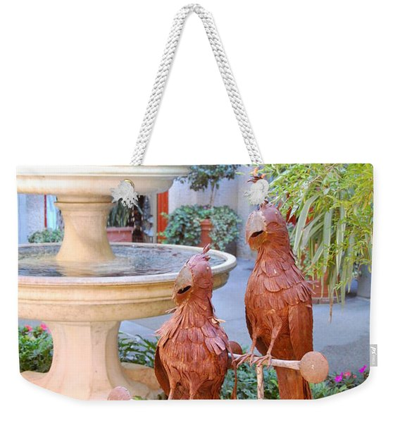 Macaws With Fountain Weekender Tote Bag
