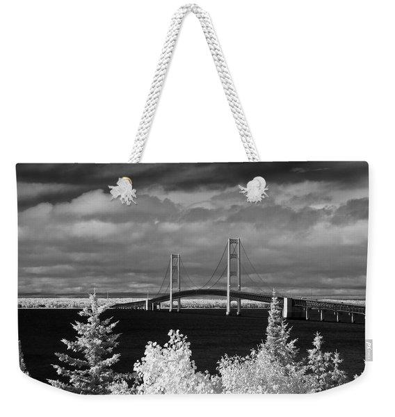 Macinac Bridge - Infrared Weekender Tote Bag
