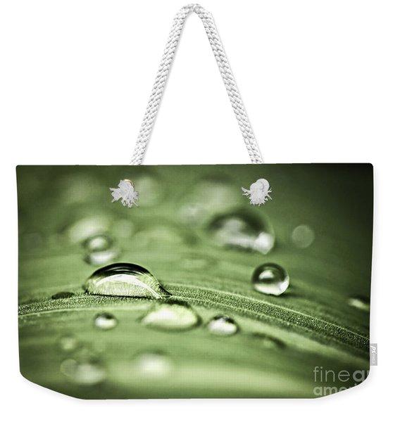 Macro Raindrops On Green Leaf Weekender Tote Bag