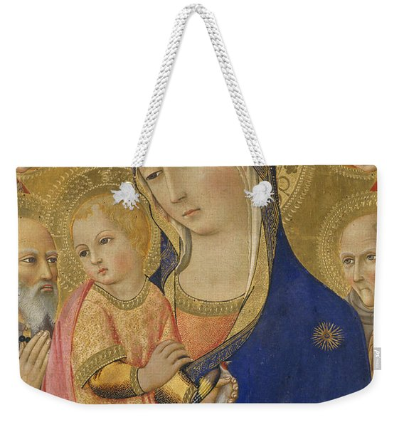 Madonna And Child With Saint Jerome Saint Bernardino And Angels Weekender Tote Bag