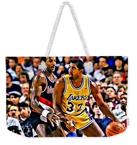 Magic Johnson Vs Clyde Drexler Weekender Tote Bag