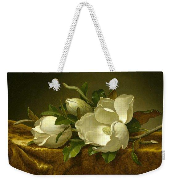 Magnolias On Gold Velvet Cloth Weekender Tote Bag