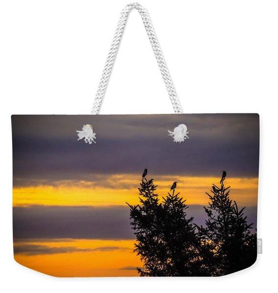 Magpies At Sunrise Weekender Tote Bag