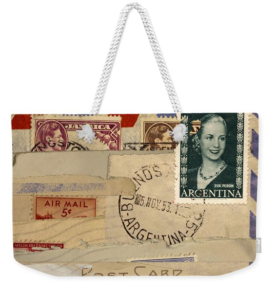 Mail Collage Eva Peron Weekender Tote Bag