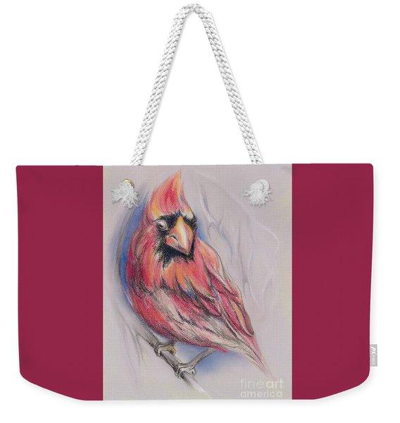 Male Cardinal In Winter Weekender Tote Bag
