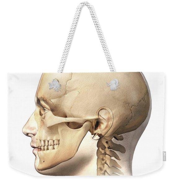 Male Human Head With Skull In Ghost Weekender Tote Bag