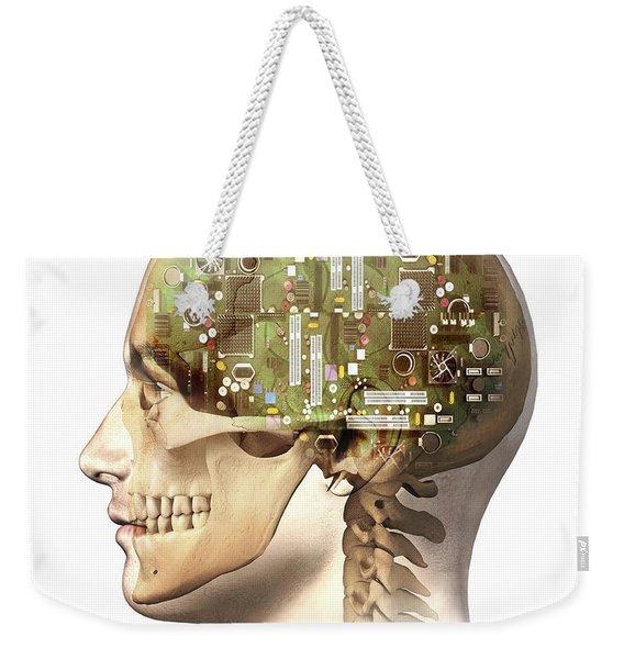 Male Human Head With Skull Weekender Tote Bag