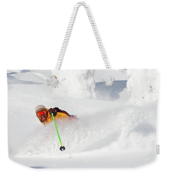 Male Skier Makes A Deep Powder Turn Weekender Tote Bag