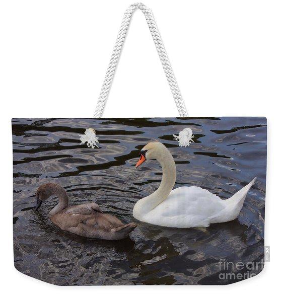 Mama And Baby Swan Weekender Tote Bag