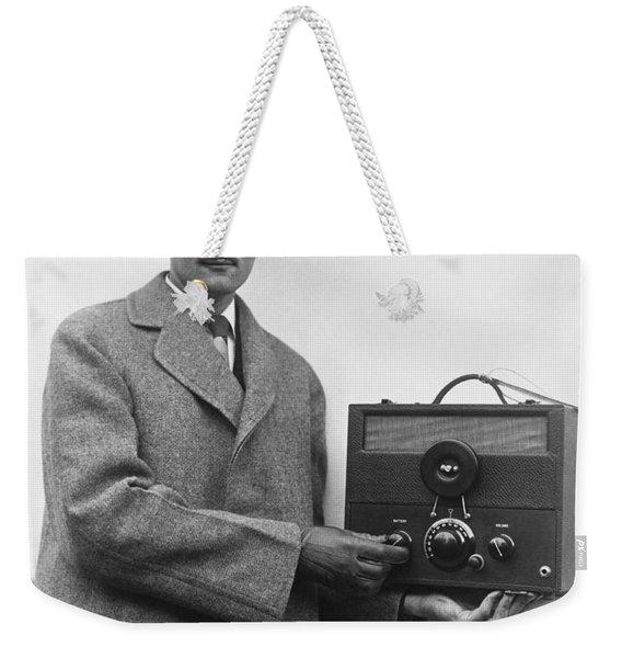 Man And His Tiny Radio Weekender Tote Bag