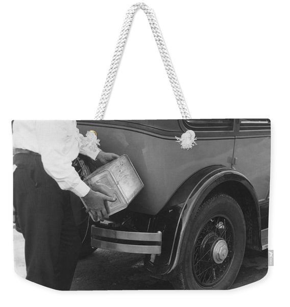 Man Filling Car With Fuel Weekender Tote Bag